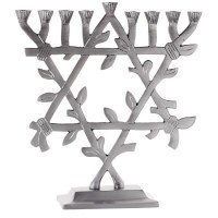 "Standing Candle Menorah Matt Silver Star of David Shape Tree Design 9"""