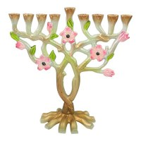 """Candle Menorah Stainless Steel Multi Colored Tree and Flower Design 10"""""""