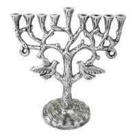 "Candle Menorah Silver Colored Metal Birds in Tree Design 10"""