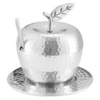 Honey Dish Hammered Stainless Steel Apple Shape with Tray and Spoon