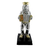 Silver Colored Polyresin Figurine Hassidic Man Standing on Stage Playing Accordion