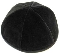 Black Velvet Kippah 6 Part with Rim Size 3