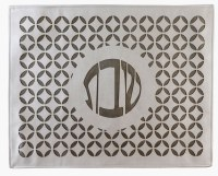 """Faux Leather Challah Cover Laser Cut Design Circle Pattern Cream and Bronze 21.5"""""""