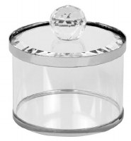 """Crystal Honey Dish and Cover Silver Rim 2"""""""
