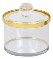 """Crystal Honey Dish and Cover Gold Rim 2"""""""
