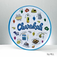 Chanukah Melamine Serving Tray Round Chanukah Musings Design