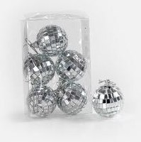 Hanging Mirror Balls Sukkah Decoration Silver 6 Pack