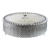Matzah Holder Silver Plated Weave Design with Lucite Cover
