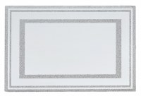 Glass Mirror Tray with Crushed Stones Border Design