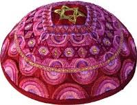 Yair Emanuel Embroidered Kippah - Magen David Pink