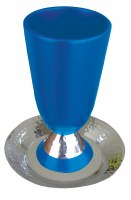 Yair Emanuel Judaica Anodized Aluminum Kiddush Cup - Hammer Work Blue