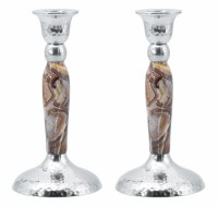 Hammered Nickel Candlesticks Brown Marbleized 7""