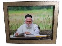 """Framed Picture of Rav Moshe Feinstein Learning in Field 16"""" x 13"""""""