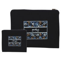 Tallis and Tefillin Bag Set Navy Velvet with Multicolored Leaf Embroidered Design
