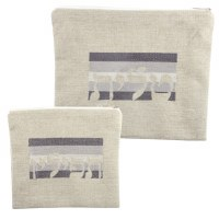 Tallis and Tefillin Bag Set Beige Linen with Grey Striped Embroidered Design