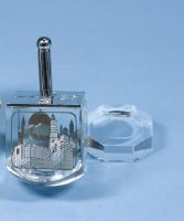 Crystal Dreidel Scenes of Old Jerusalem Design with Stand Clear