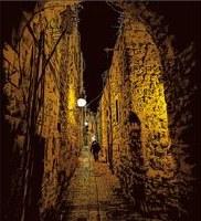 Old Street Of Jerusalem Scratch Art
