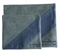 Tallis and Tefillin Bag Set Grey and Blue Faux Leather with Blue Embroidery