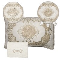 Pesach Set Velvet 4 Piece Off White and Brown Regal Design