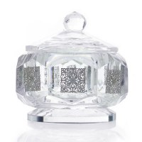 """Crystal Honey Dish Octagon Shape Silver Accent Cubes 3"""""""
