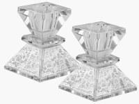 """Crystal Square Candlesticks Silver Plate Jerusalem Design 2.5"""""""