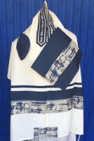 "Wool Tallit Set Navy and Silver Marbelized Design 20"" x 72"""