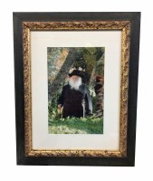 """Framed Matted Picture of R' Chaim Gold and Black Double Frame 7"""" x 10"""""""
