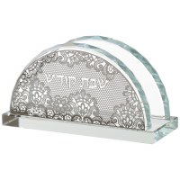 Crystal Napkin Holder Silver Colored Floral Shabbos Kodesh Design
