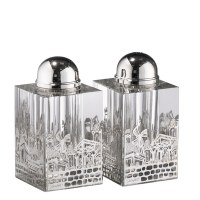 Crystal Salt and Pepper Shaker Set Silver Colored Jerusalem Design