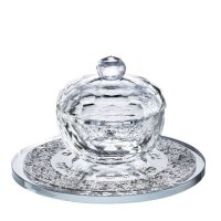 Crystal Honey Dish with Silver Floral Designed Tray