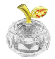 Crystal Honey Dish Apple Shape Gold Accent Leaf