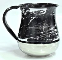 Stainless Steel Washing Cup Black Marble Design