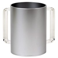Acrylic Washing Cup Silver with Clear Handles