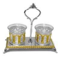 Silver Plated Salt and Pepper Holder Set Royal Palace Design Gold