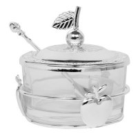 Glass Honey Dish Apple Base Design Silver
