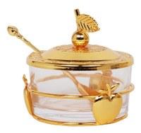 Glass Honey Dish Apple Base Design Gold