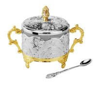 Silver Plated Honey Dish Filigree Design Gold Plated Accents with Spoon