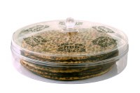 "Round Matzah Box Acrylic Designed Cover 12"""