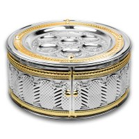"""3 Tiered Silver Plated Seder Plate Kaarah with Doors Gold Trim Royal Palace Design 15"""""""
