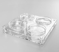 """Acrylic Square Dip Dish 4 Sectioned Adorned with Silver Plates and Legs 10.5"""""""