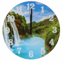 Tempered Glass Clock Waterfall Design 12""