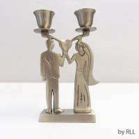 """Stainless Steel Candlesticks Antique Silver Bride and Groom Holding Heart 2 Lights Single Base 6.5"""""""