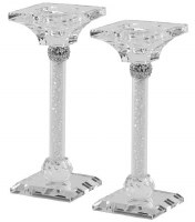 """Crystal Candlesticks Pillar Design Silver Accent with Light Silver Stones 7"""""""