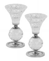 """Crystal Candlesticks Cup and Ball Design Silver Accent 4.5"""""""