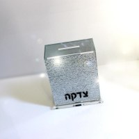 Lucite Tzedakah Box Full Glitter Silver Color