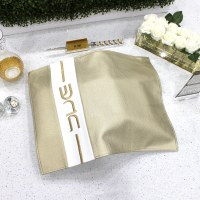 Faux Leather Challah Cover Vertical Stripe Design Gold