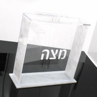Lucite Matzah Box Square Gray Marble Design