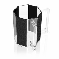 Washing Cup Lucite Hexagon Black Sparkle Stripes