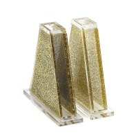 Lucite Salt Shakers Triangle Shape Gold Glitter