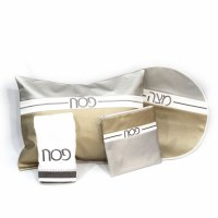 Pesach Set Faux Leather 4 Piece White and Gold and Silver Horizontal Stripes Design